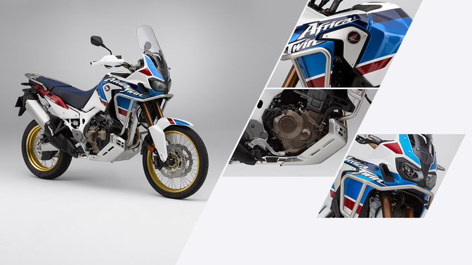 Front three-quarter facing Honda Africa Twin Adventure Sports, close up of Honda Africa Twin, headlights and engine.